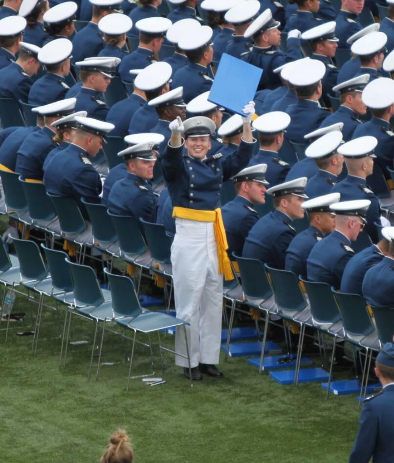 Jonathan - USAFA Graduation - Holding up Diploma copy
