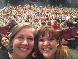A Full house at Sheppard AFB. Photobombing my fellow speakers Ingrid Bruns from USAA and Bethany Grace our high energy emcee!